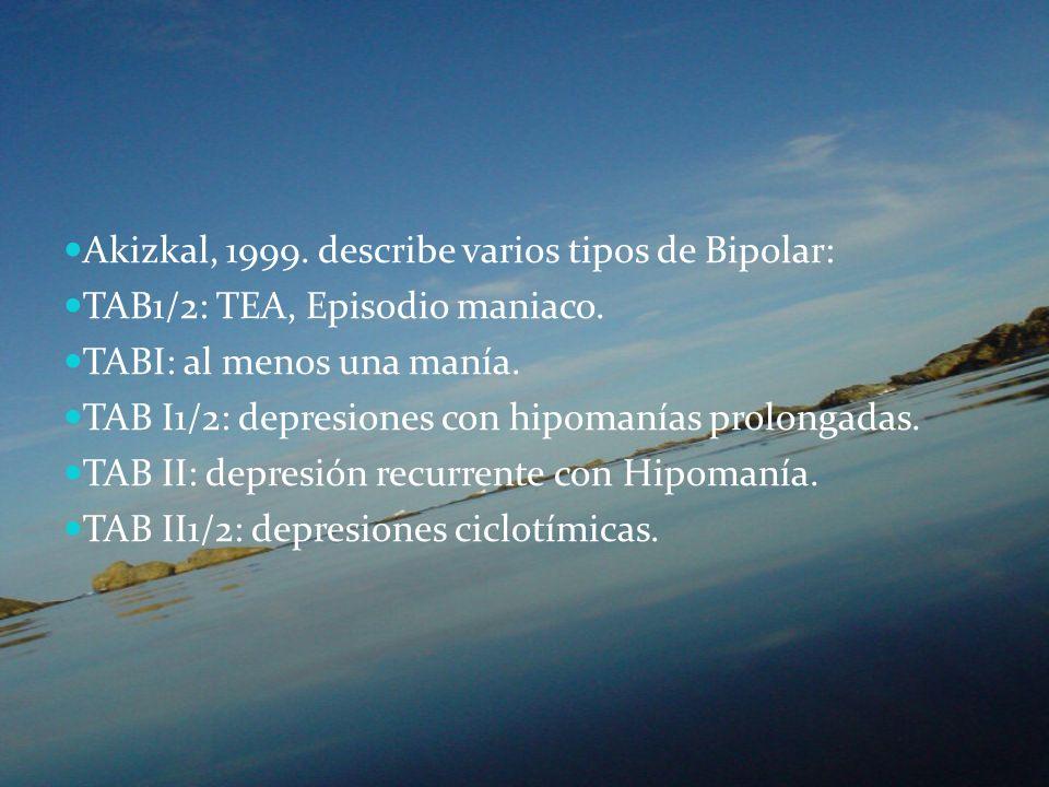 Akizkal, 1999. describe varios tipos de Bipolar: