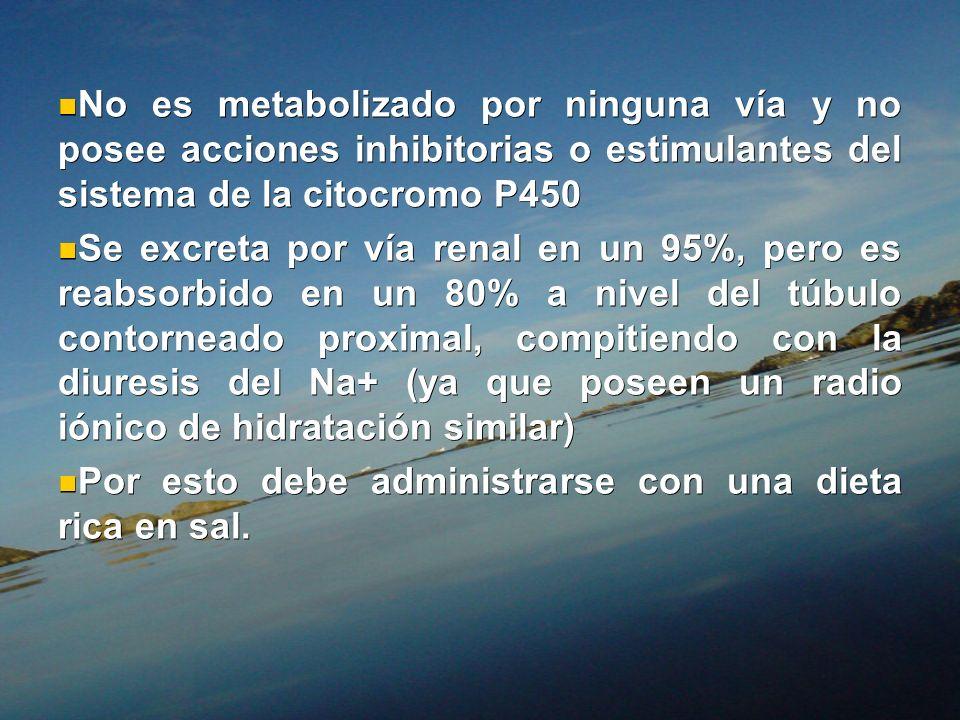 No es metabolizado por ninguna vía y no posee acciones inhibitorias o estimulantes del sistema de la citocromo P450