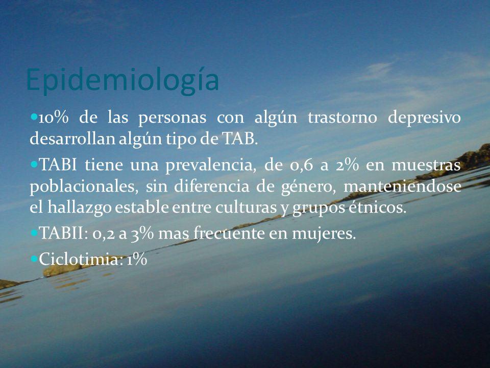 Epidemiología 10% de las personas con algún trastorno depresivo desarrollan algún tipo de TAB.