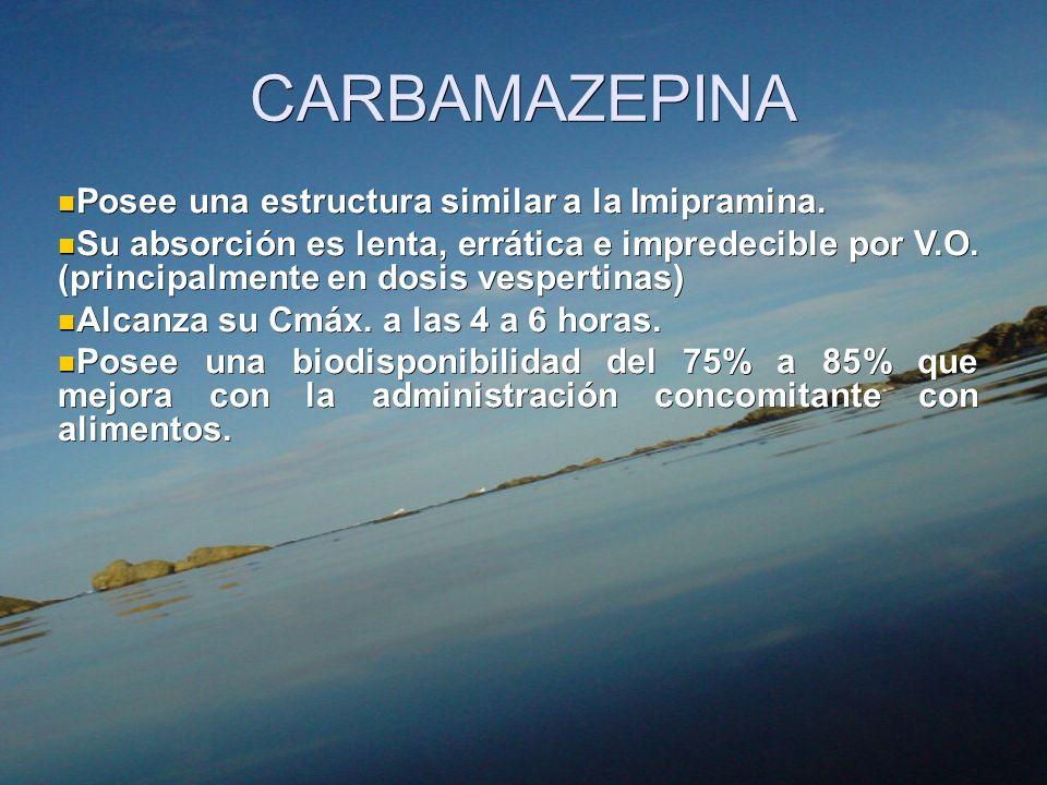 CARBAMAZEPINA Posee una estructura similar a la Imipramina.