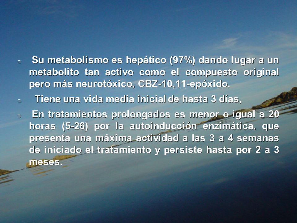 Su metabolismo es hepático (97%) dando lugar a un metabolito tan activo como el compuesto original pero más neurotóxico, CBZ-10,11-epóxido.