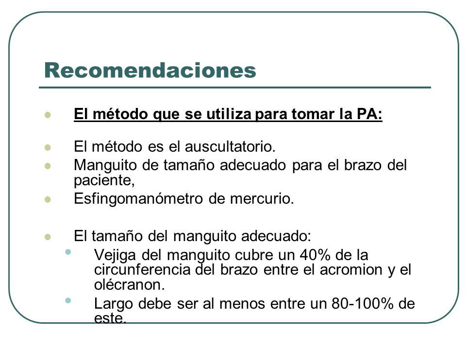 Recomendaciones El método que se utiliza para tomar la PA: