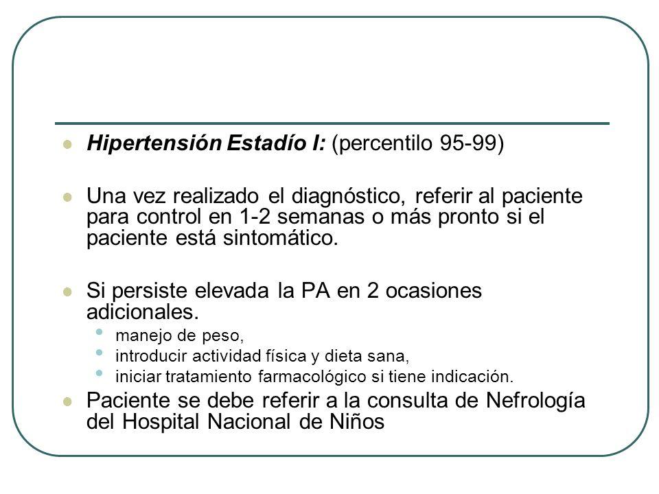 Hipertensión Estadío I: (percentilo 95-99)