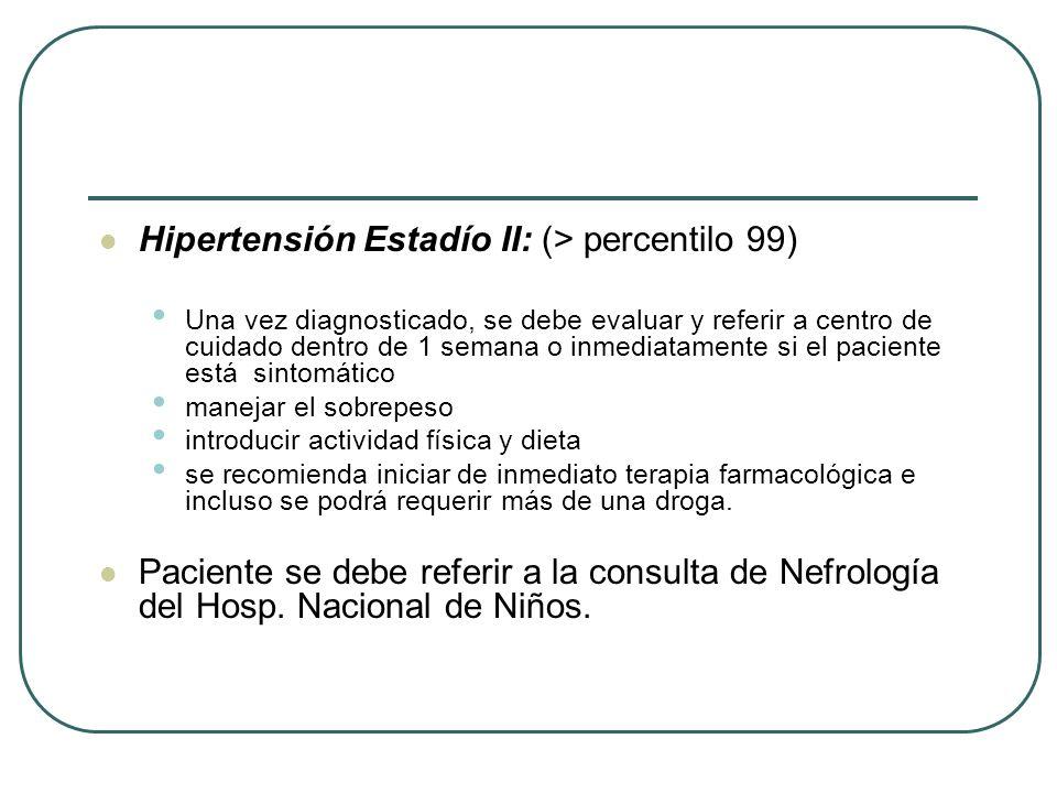 Hipertensión Estadío II: (> percentilo 99)