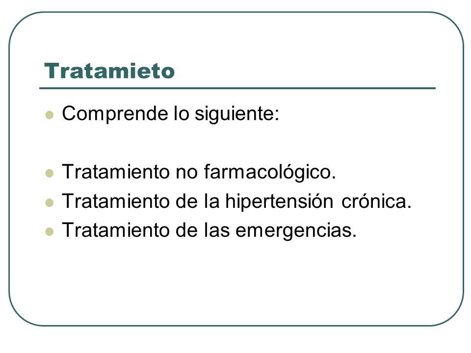 Tratamieto Comprende lo siguiente: Tratamiento no farmacológico.