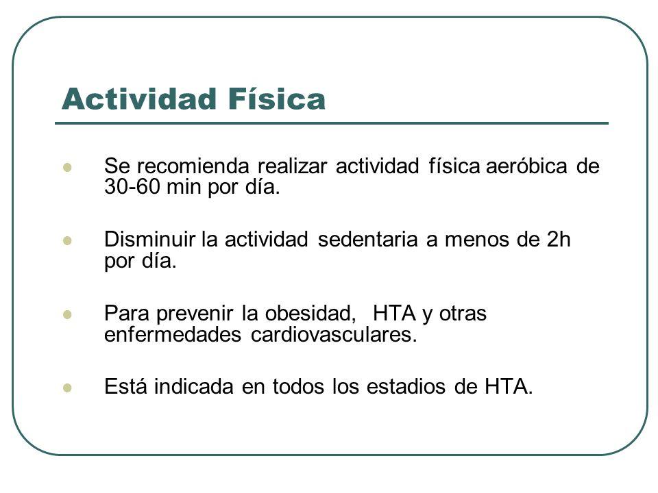 Actividad Física Se recomienda realizar actividad física aeróbica de 30-60 min por día. Disminuir la actividad sedentaria a menos de 2h por día.