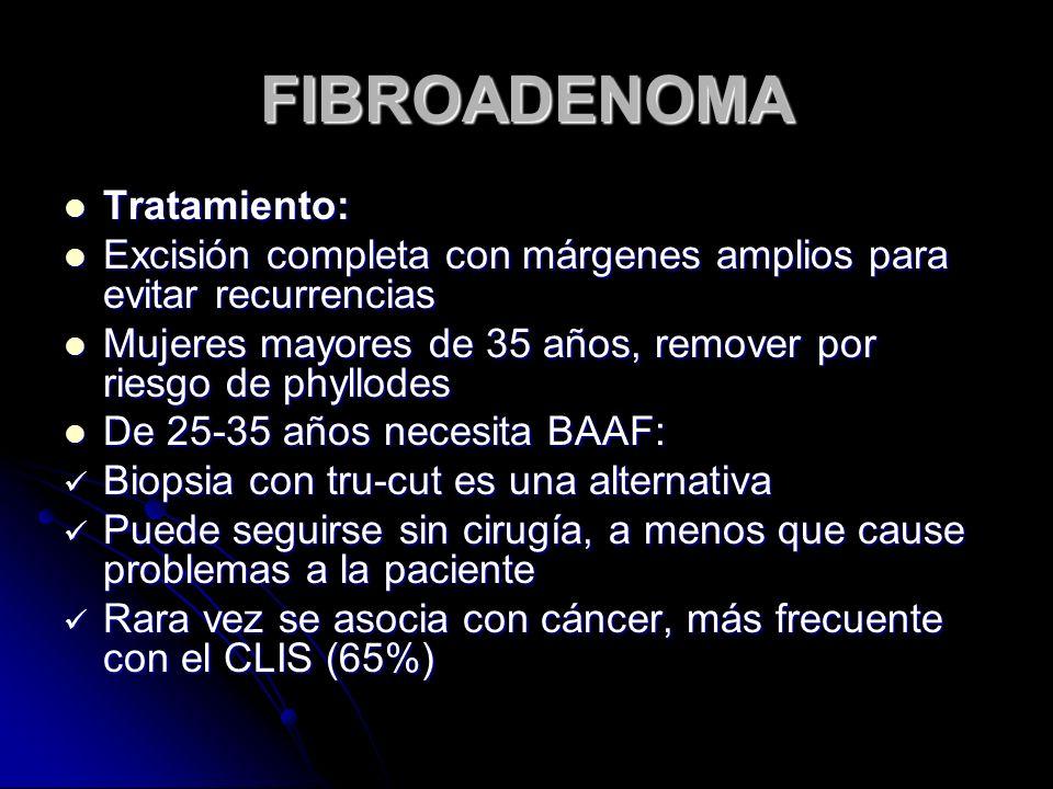 FIBROADENOMA Tratamiento: