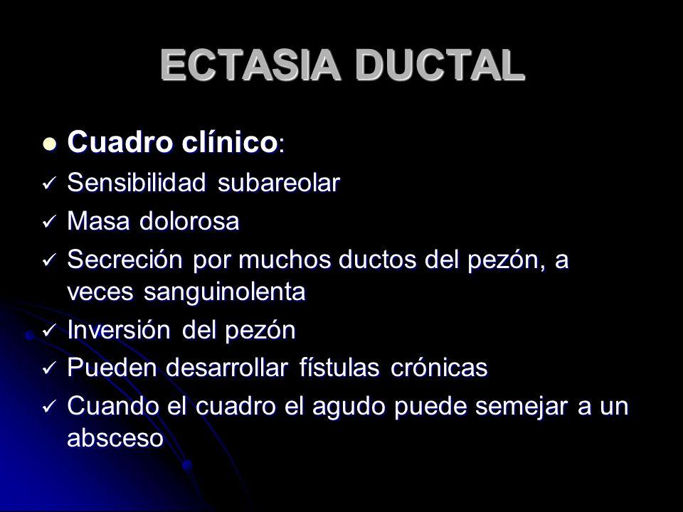 ECTASIA DUCTAL Cuadro clínico: Sensibilidad subareolar Masa dolorosa