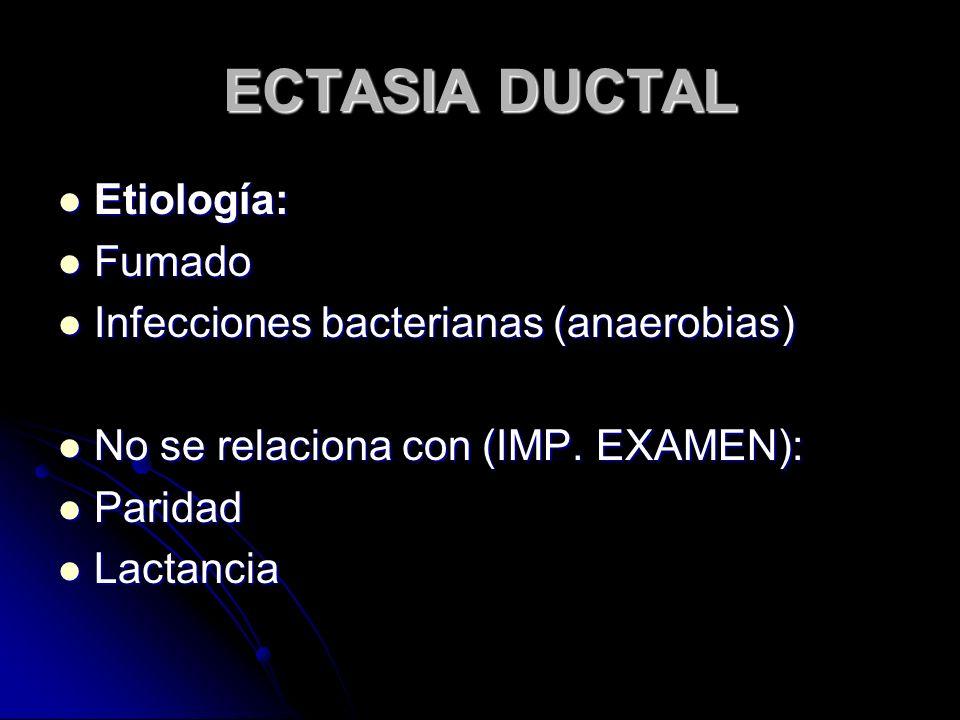 ECTASIA DUCTAL Etiología: Fumado Infecciones bacterianas (anaerobias)