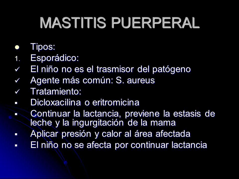 MASTITIS PUERPERAL Tipos: Esporádico: