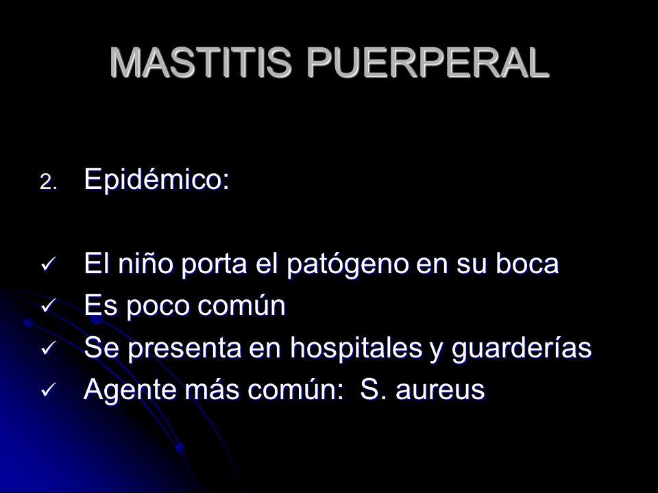 MASTITIS PUERPERAL Epidémico: El niño porta el patógeno en su boca