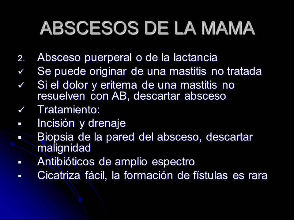 ABSCESOS DE LA MAMA Absceso puerperal o de la lactancia