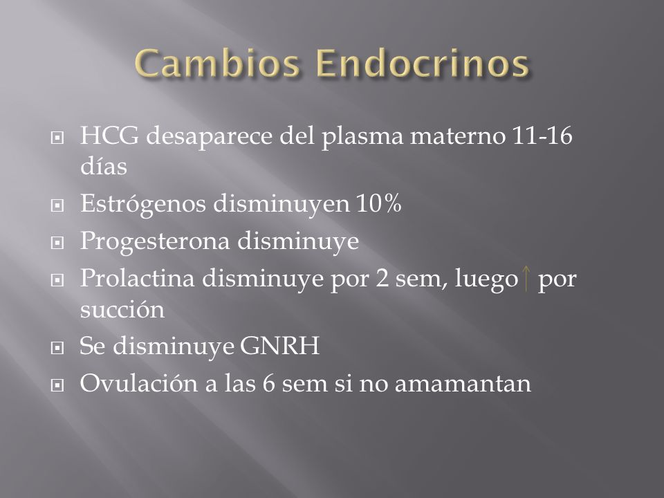 Cambios Endocrinos HCG desaparece del plasma materno 11-16 días