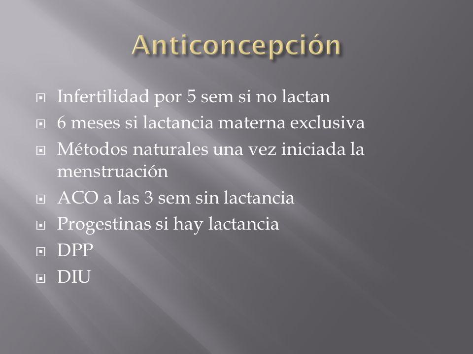 Anticoncepción Infertilidad por 5 sem si no lactan