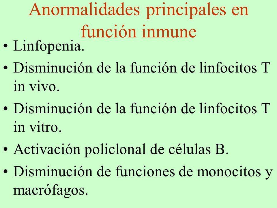 Anormalidades principales en función inmune
