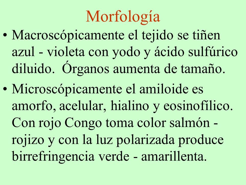 Morfología Macroscópicamente el tejido se tiñen azul - violeta con yodo y ácido sulfúrico diluido. Órganos aumenta de tamaño.