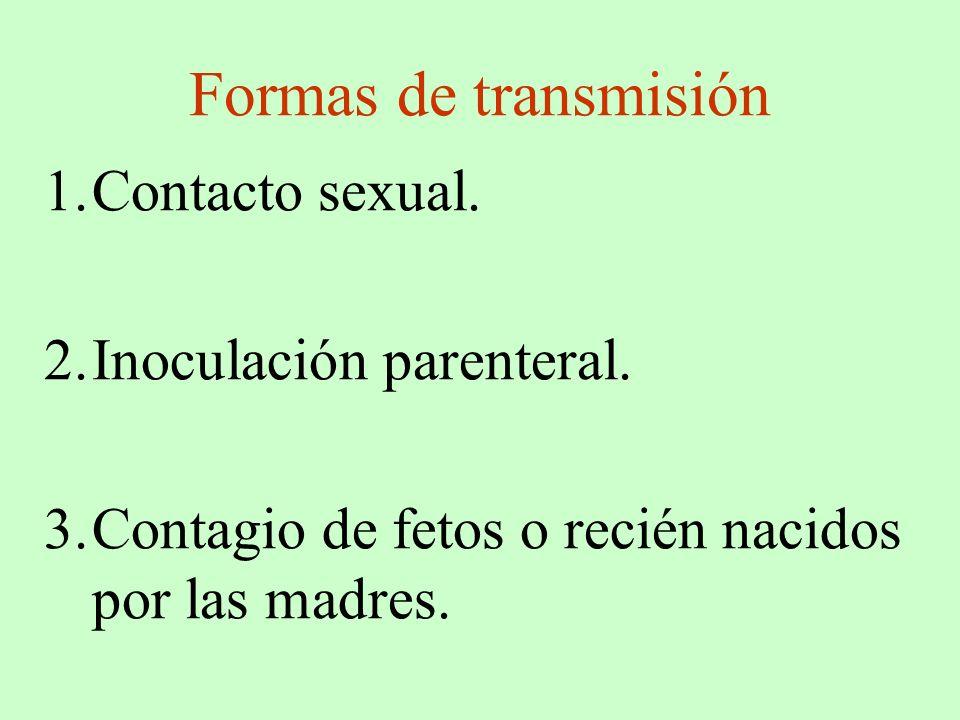 Formas de transmisión Contacto sexual. Inoculación parenteral.