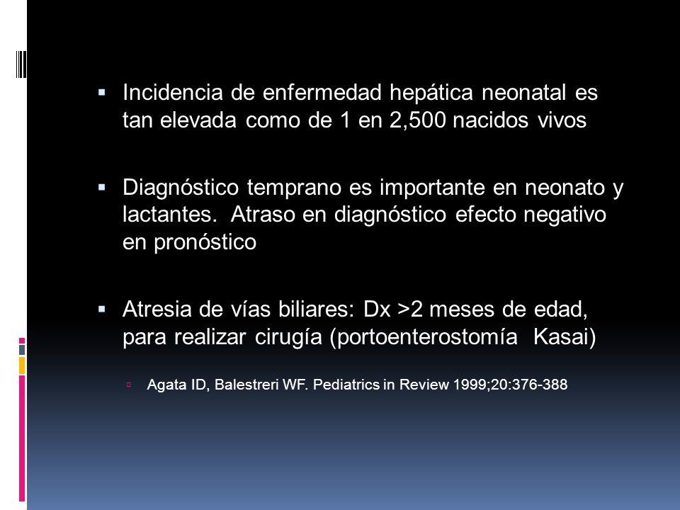 Incidencia de enfermedad hepática neonatal es tan elevada como de 1 en 2,500 nacidos vivos