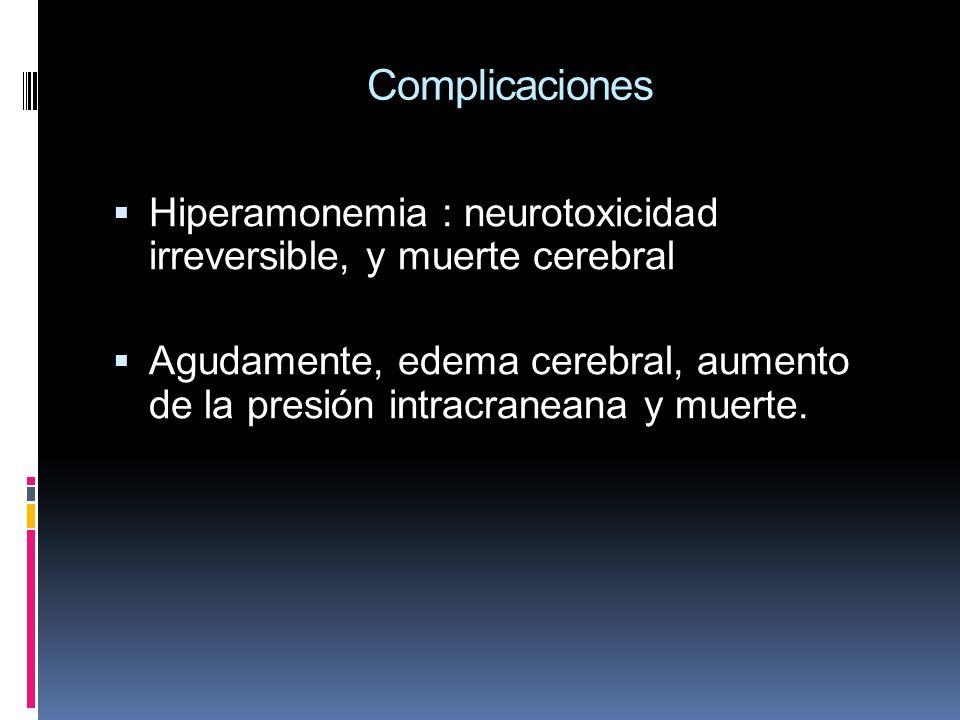 Complicaciones Hiperamonemia : neurotoxicidad irreversible, y muerte cerebral.