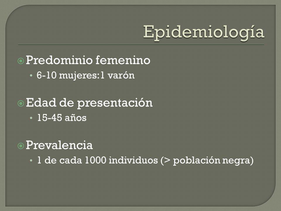 Epidemiología Predominio femenino Edad de presentación Prevalencia