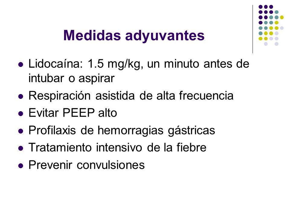 Medidas adyuvantes Lidocaína: 1.5 mg/kg, un minuto antes de intubar o aspirar. Respiración asistida de alta frecuencia.