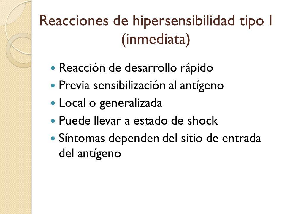Reacciones de hipersensibilidad tipo I (inmediata)