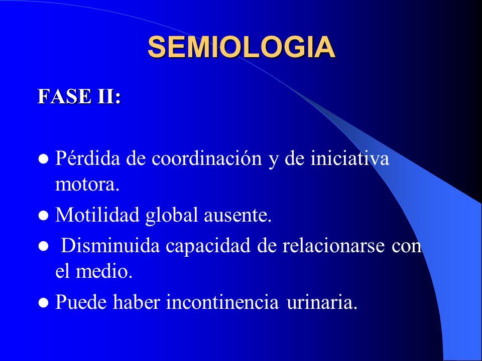 SEMIOLOGIA FASE II: Pérdida de coordinación y de iniciativa motora.