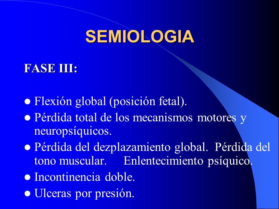 SEMIOLOGIA FASE III: Flexión global (posición fetal).
