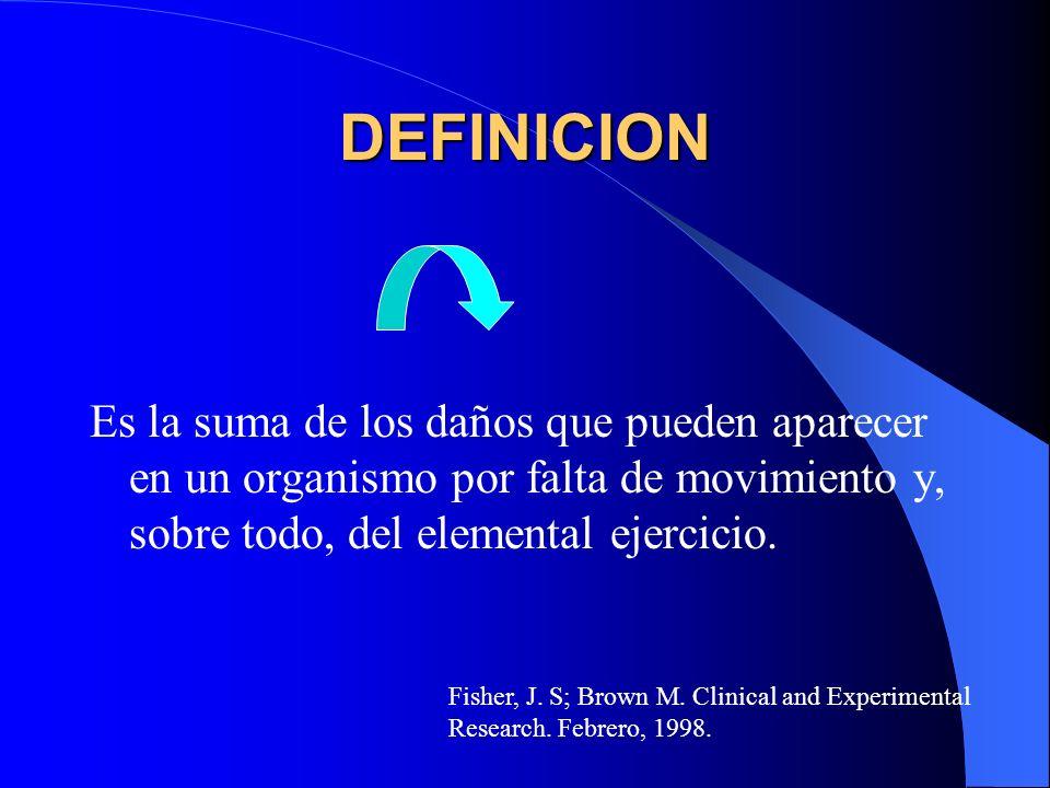 DEFINICION Es la suma de los daños que pueden aparecer en un organismo por falta de movimiento y, sobre todo, del elemental ejercicio.