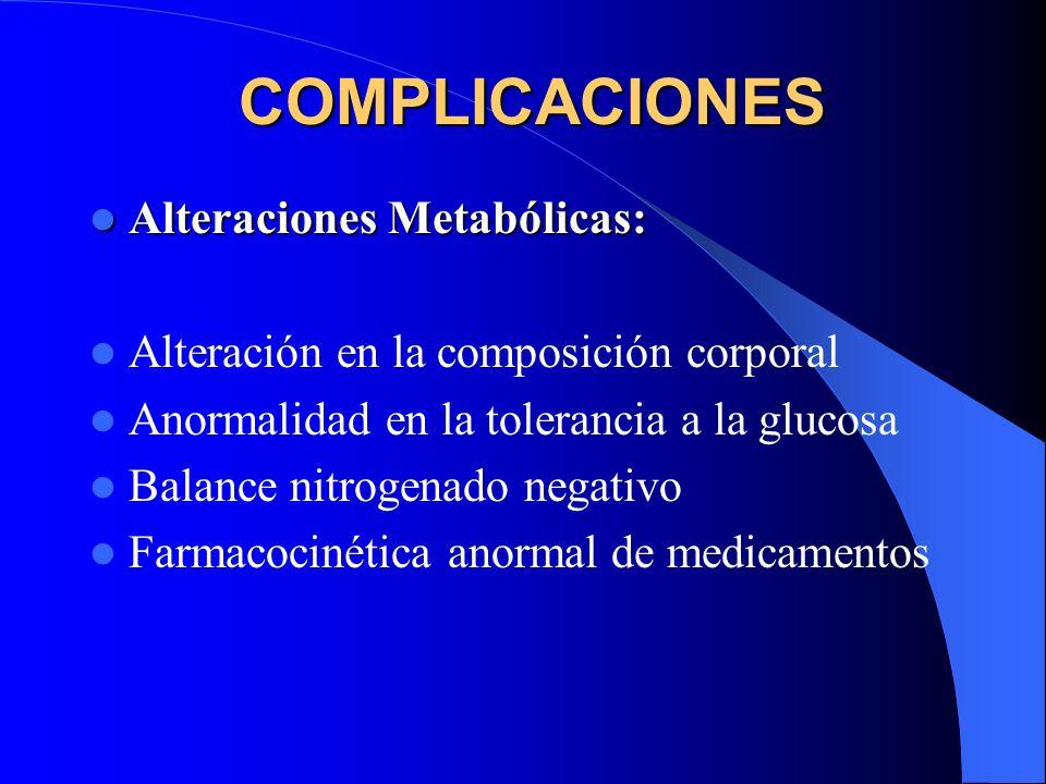 COMPLICACIONES Alteraciones Metabólicas: