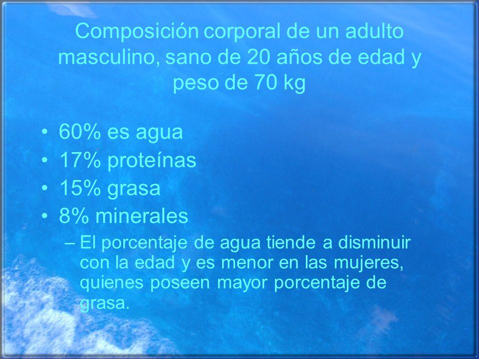 Composición corporal de un adulto masculino, sano de 20 años de edad y peso de 70 kg