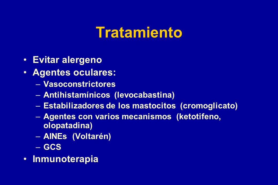 Tratamiento Evitar alergeno Agentes oculares: Inmunoterapia