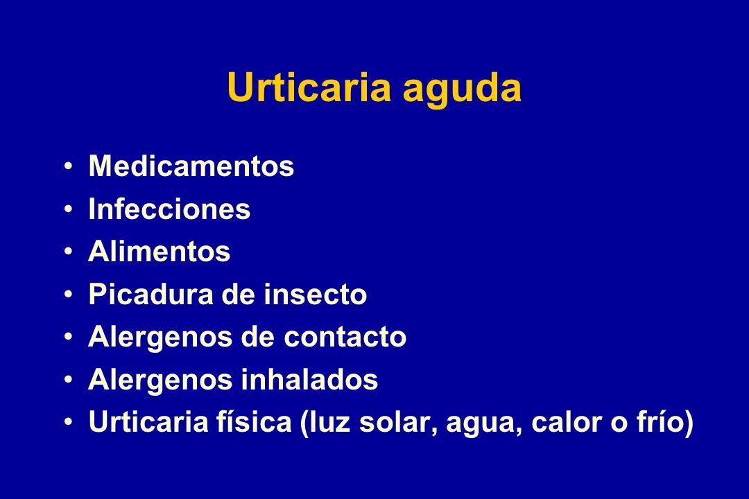 Urticaria aguda Medicamentos Infecciones Alimentos Picadura de insecto