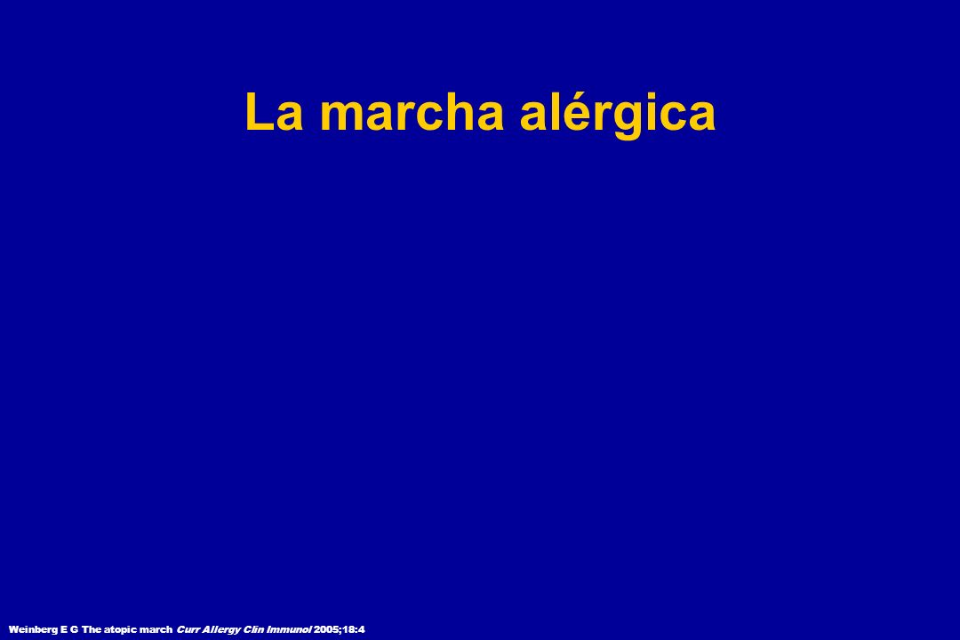 La marcha alérgica Weinberg E G The atopic march Curr Allergy Clin Immunol 2005;18:4