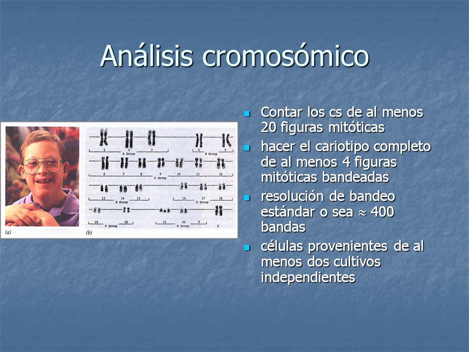Análisis cromosómico Contar los cs de al menos 20 figuras mitóticas