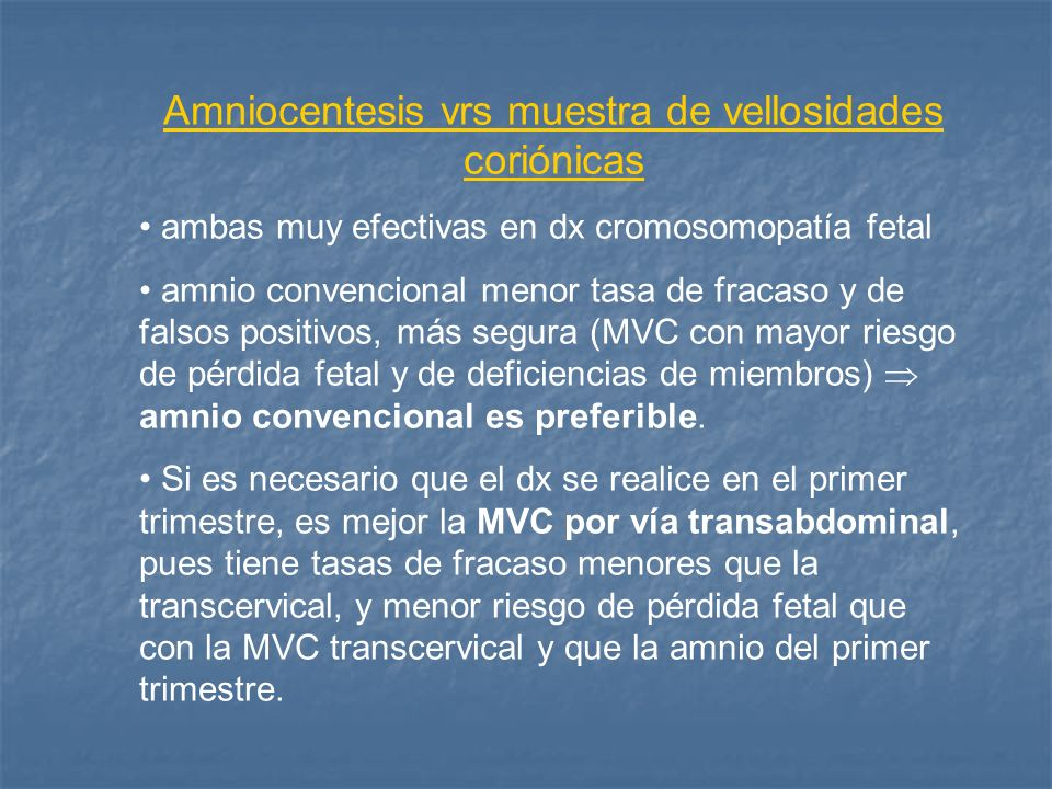Amniocentesis vrs muestra de vellosidades coriónicas