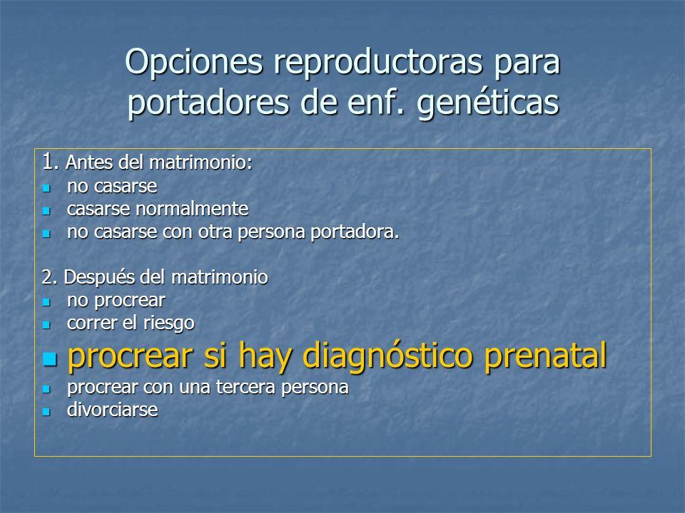 Opciones reproductoras para portadores de enf. genéticas