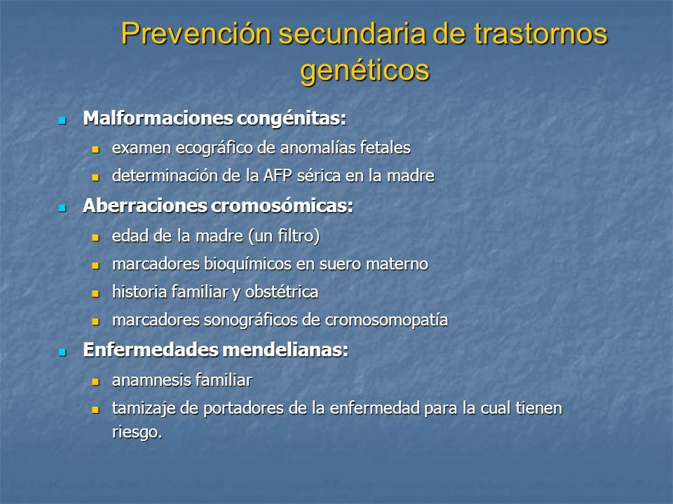 Prevención secundaria de trastornos genéticos