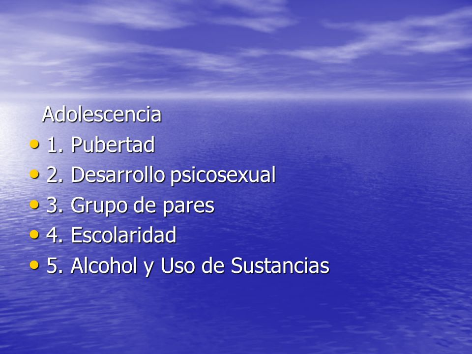 Adolescencia 1. Pubertad. 2. Desarrollo psicosexual.