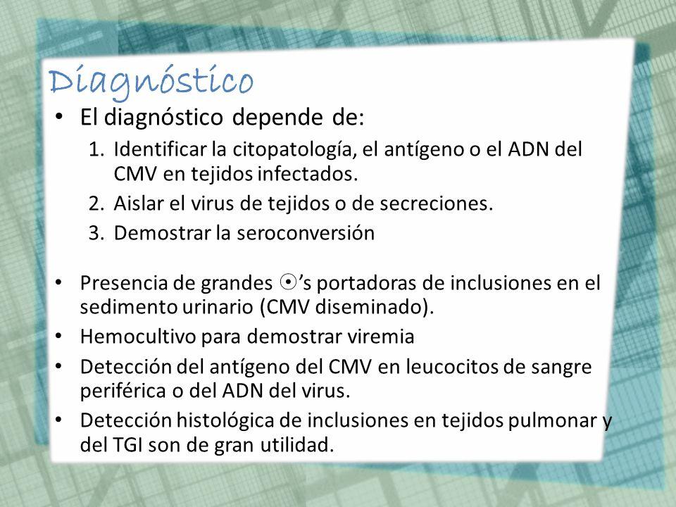 Diagnóstico El diagnóstico depende de: