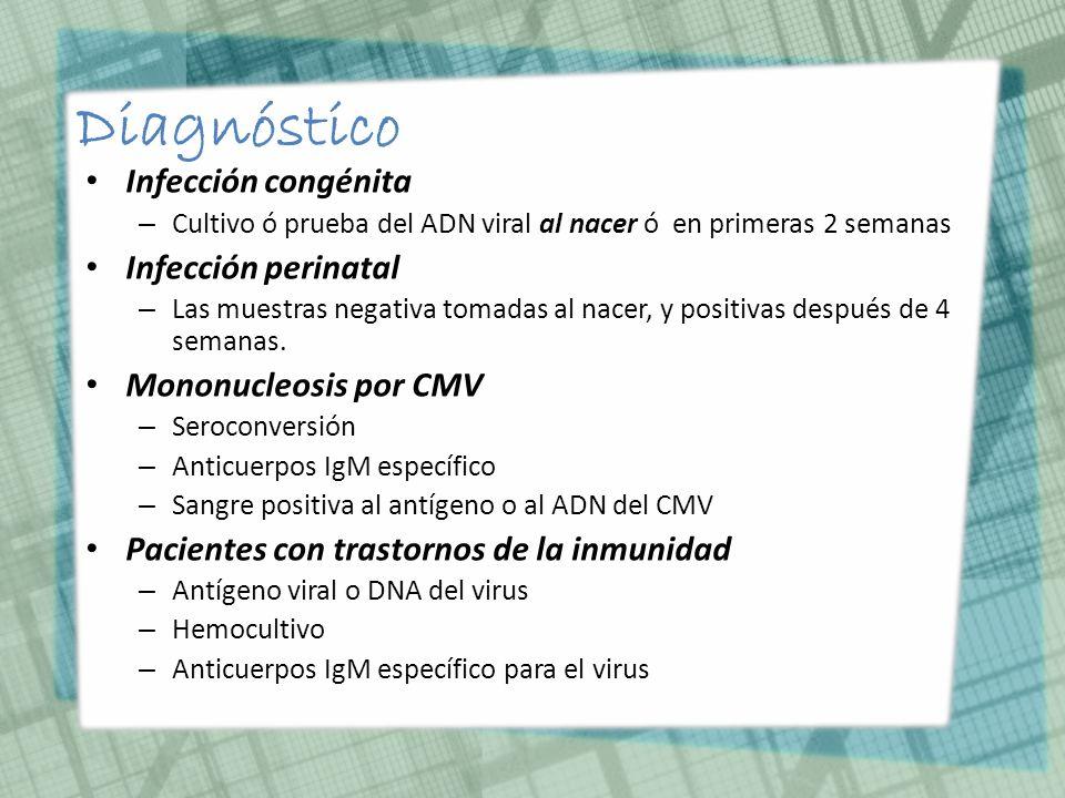 Diagnóstico Infección congénita Infección perinatal