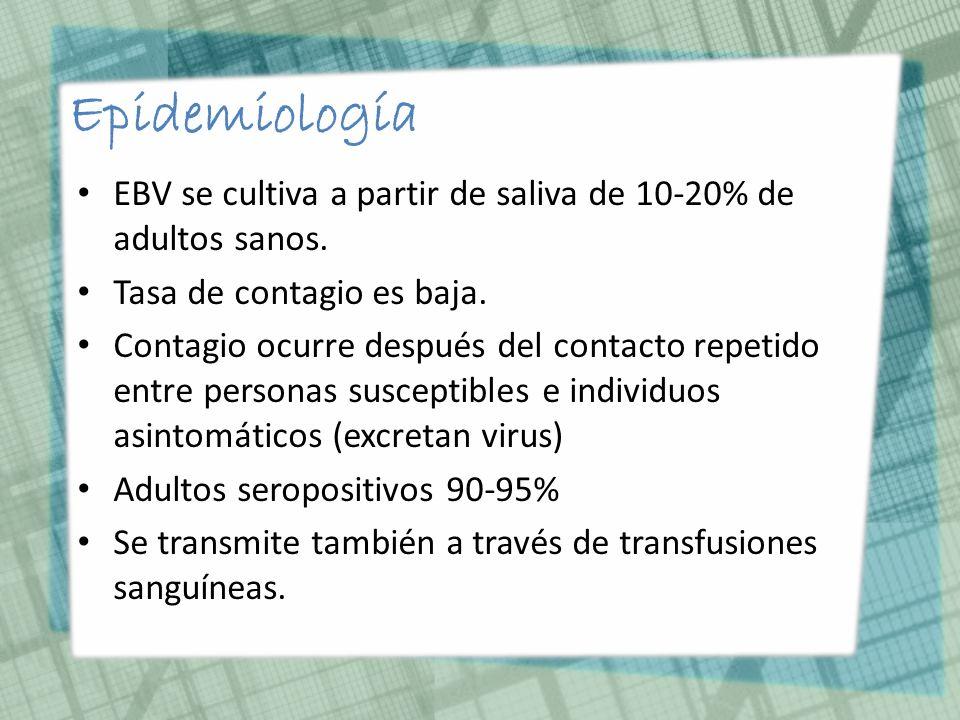 Epidemiología EBV se cultiva a partir de saliva de 10-20% de adultos sanos. Tasa de contagio es baja.