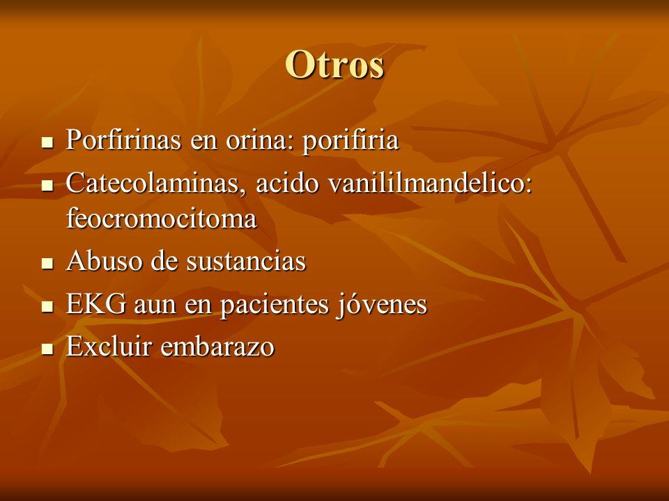 Otros Porfirinas en orina: porifiria