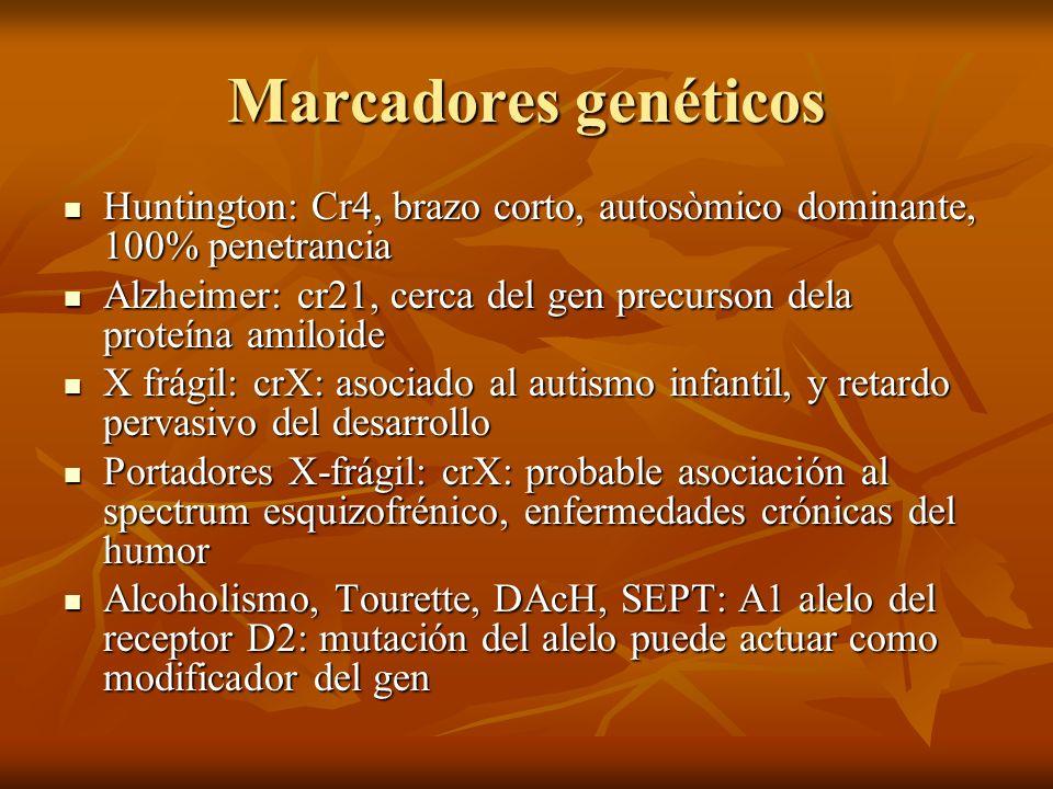 Marcadores genéticosHuntington: Cr4, brazo corto, autosòmico dominante, 100% penetrancia.