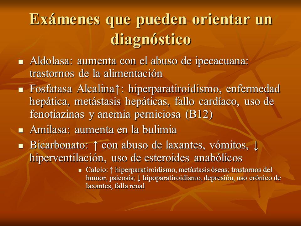 Exámenes que pueden orientar un diagnóstico
