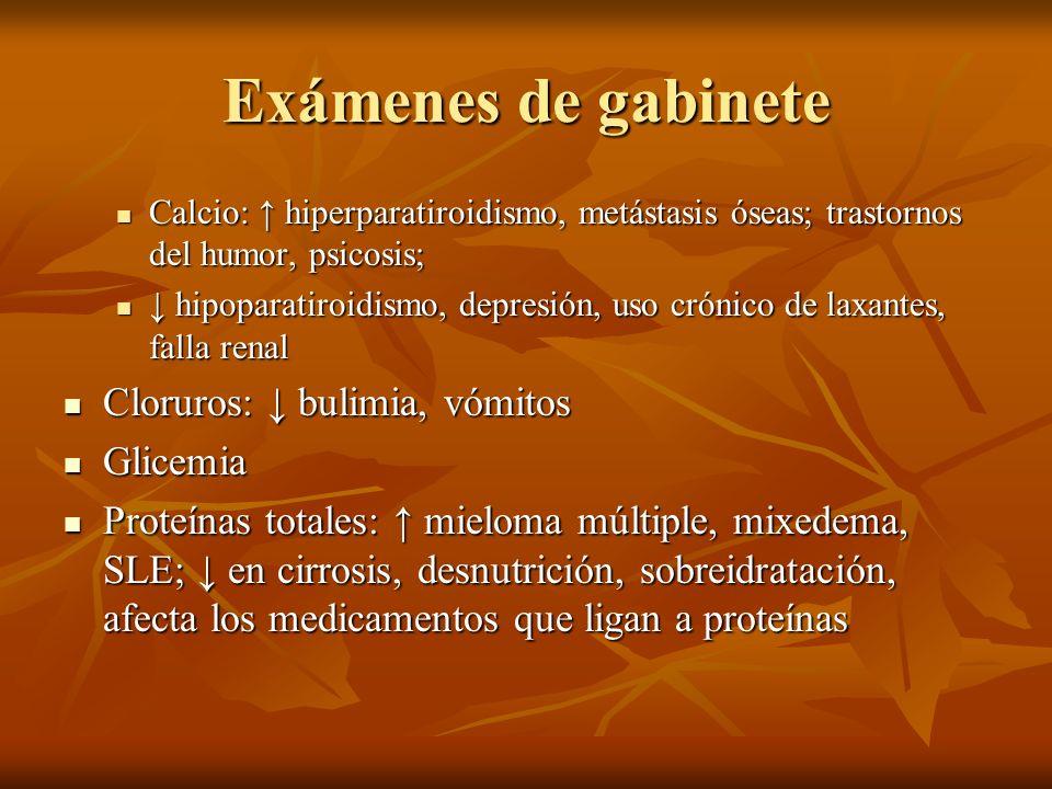 Exámenes de gabinete Cloruros: ↓ bulimia, vómitos Glicemia