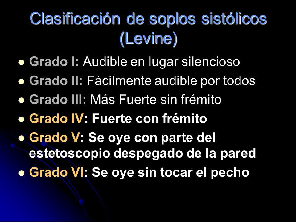 Clasificación de soplos sistólicos (Levine)