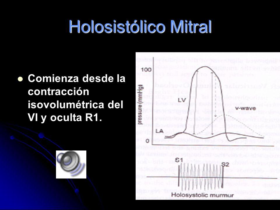 Holosistólico Mitral Comienza desde la contracción isovolumétrica del VI y oculta R1.