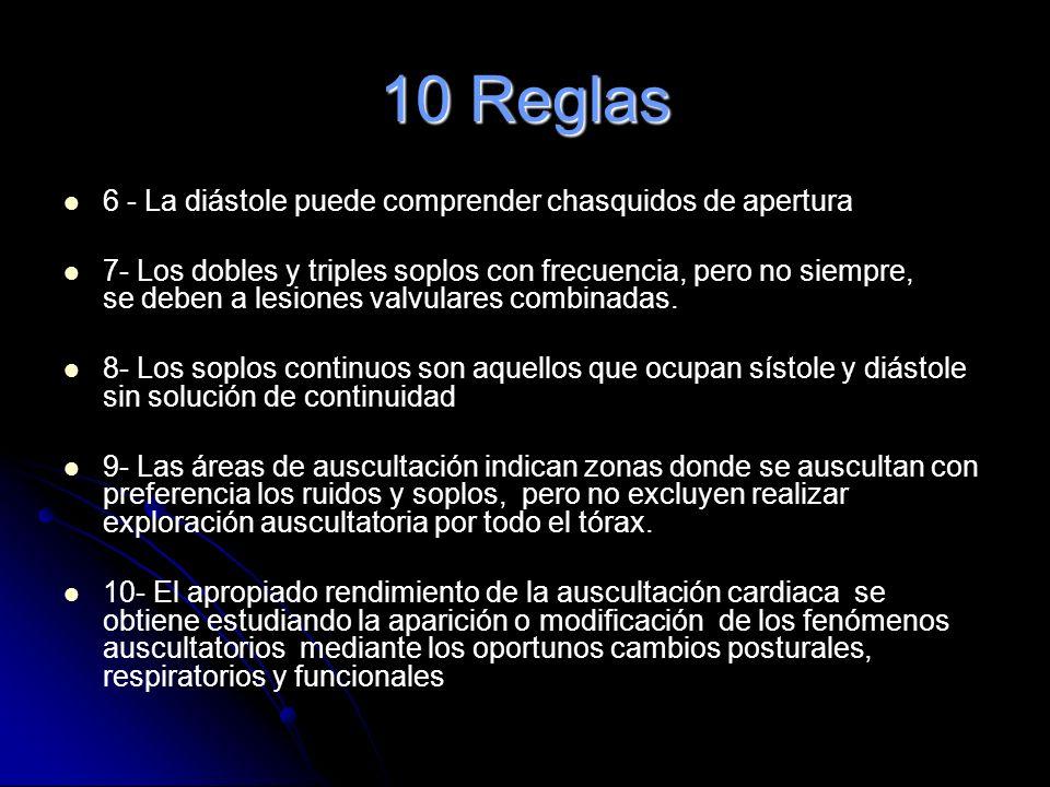 10 Reglas 6 - La diástole puede comprender chasquidos de apertura