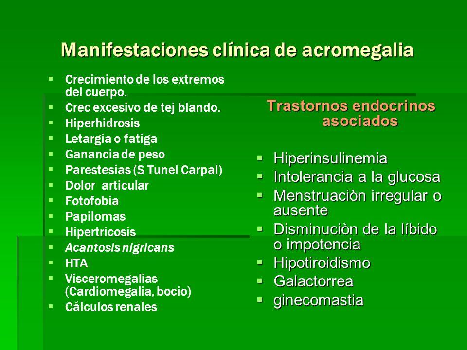 Manifestaciones clínica de acromegalia
